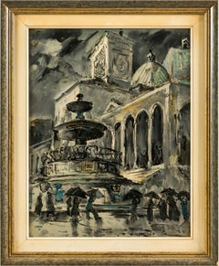 20th century Italian view painting - Udine - Oil on hardboard Italy