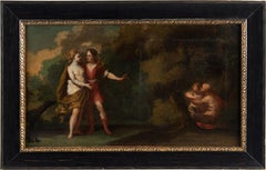 18th century Flemish figurative painting - Diana landscape oil on canvas Wouters