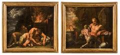 Pair of 18th century Italian mythological painting - Satyr figures Oil on canvas