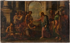 17th century Italian figure painting - Christ temple - Oil Canvas Giordano Italy