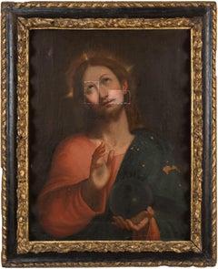17th century Italian figure painting - Salvator Mundi Christ - Oil canvas Italy