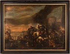 17th century Italian landscape painting - Battle - Oil on canvas - Baroque Italy