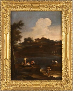18th century Venetian figure painting - Landscape - Oil on canvas venice Italy
