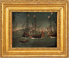 17th century Flemish landscape painting - Sea Battle - Oil on copper Paul Brill