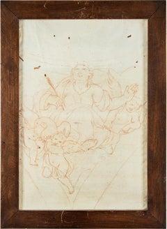18th century Italian figure drawing - Saint study - Sanguine on paper Baroque