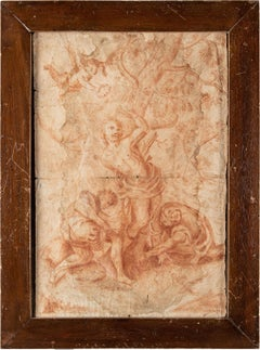18th century Italian figure drawing - St. Sebastian study - Sanguine on paper