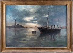 19th century Venetian view painting - Venice - Oil on canvas landscape sea