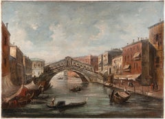 19th century Venetian landscape painting - View Venice - Oil on canvas signed