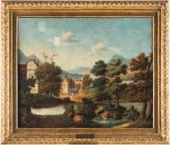 Antonio Visentini - River landscape with washerwoman and knights - Venice, 18th