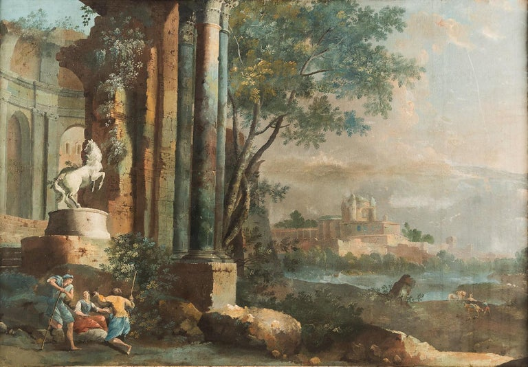 18th century Italian landscape painting - Architectural view - Tempera on canvas - Painting by Pietro Paltronieri, called Mirandolese
