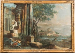 18th century Italian landscape painting - Architectural view - Tempera on canvas