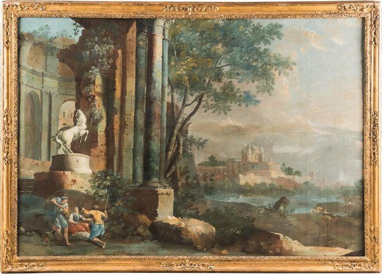 Pietro Paltronieri, called Mirandolese Landscape Painting - 18th century Italian landscape painting - Architectural view - Tempera on canvas