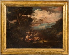 18th century Italian landscape figures painting - Venetian oil on canvas Venice