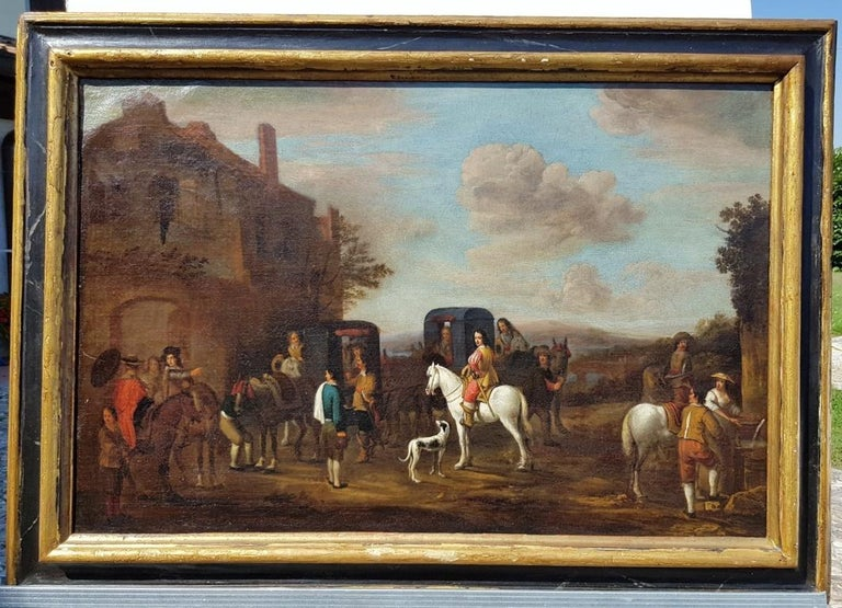 18th century Italian landscape painting - Knights figures oil on canvas Italy - Baroque Painting by Carel van Falens
