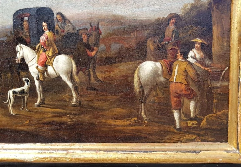 18th century Italian landscape painting - Knights figures oil on canvas Italy 1