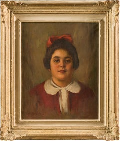 20th century Italian portrait painting - Child - Oil on canvas figure Italy