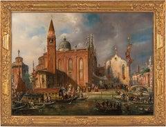 19th century Italian landscape painting - View of Venice - Oil on canvas Zanin