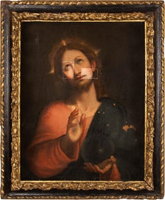 17th century Italian figure painting - Salvator Mundi Christ - Oil canvas Italy