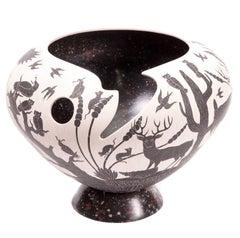 12'' Vasija Blanco y Negro / Ceramic Mexican Folk Art from Mata Ortiz