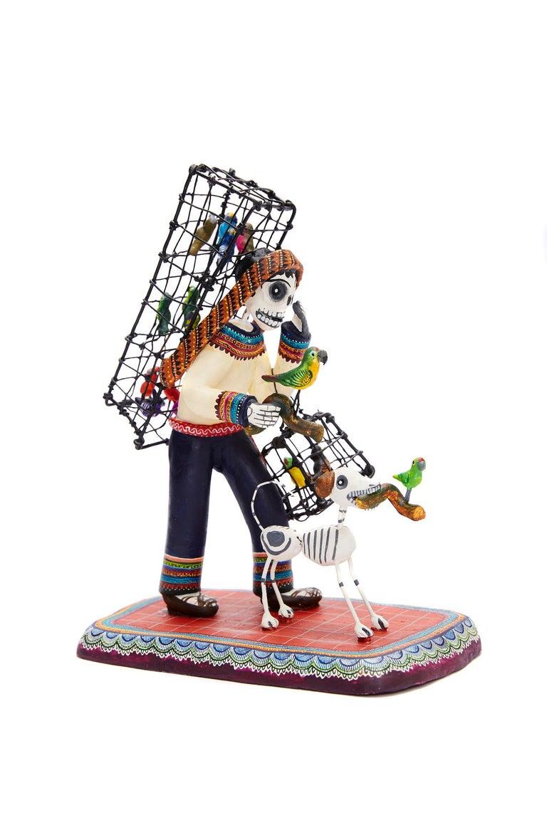 Vendedor de pájaros - Bird seller - Mexican Folk Art  Cactus Fine Art For Sale 2