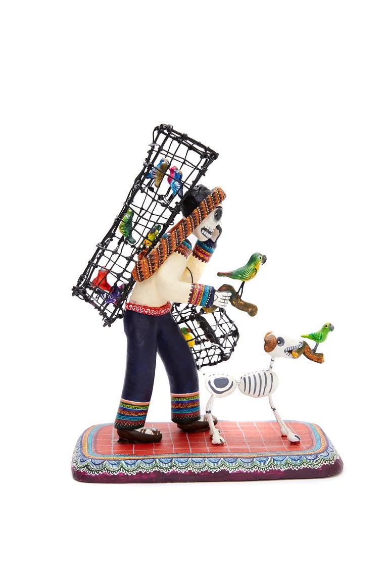Vendedor de pájaros - Bird seller - Mexican Folk Art  Cactus Fine Art For Sale 3