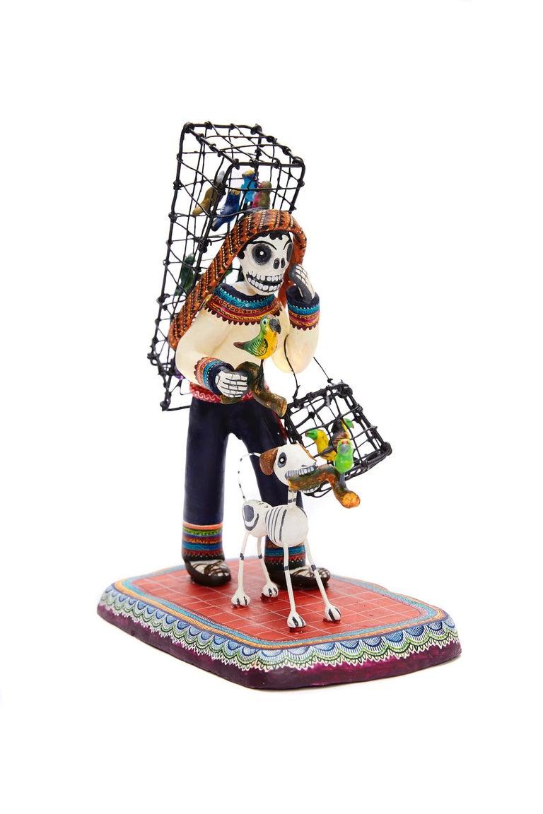 Vendedor de pájaros - Bird seller - Mexican Folk Art  Cactus Fine Art For Sale 5