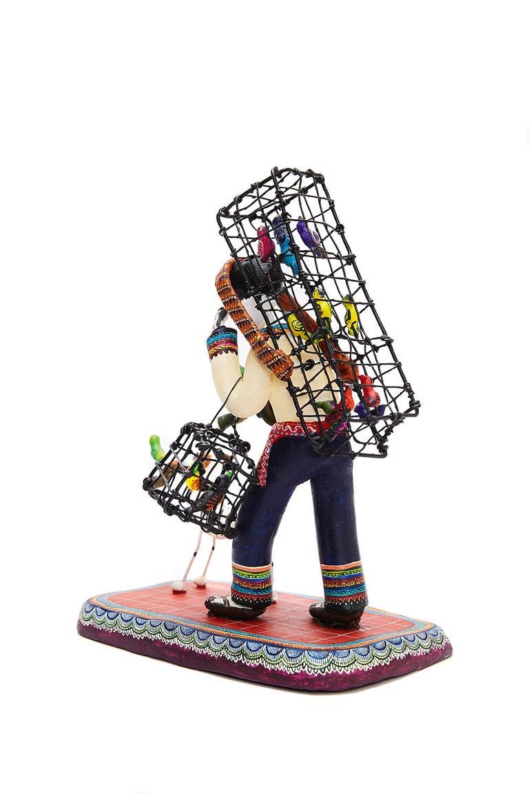 Vendedor de pájaros - Bird seller - Mexican Folk Art  Cactus Fine Art For Sale 7