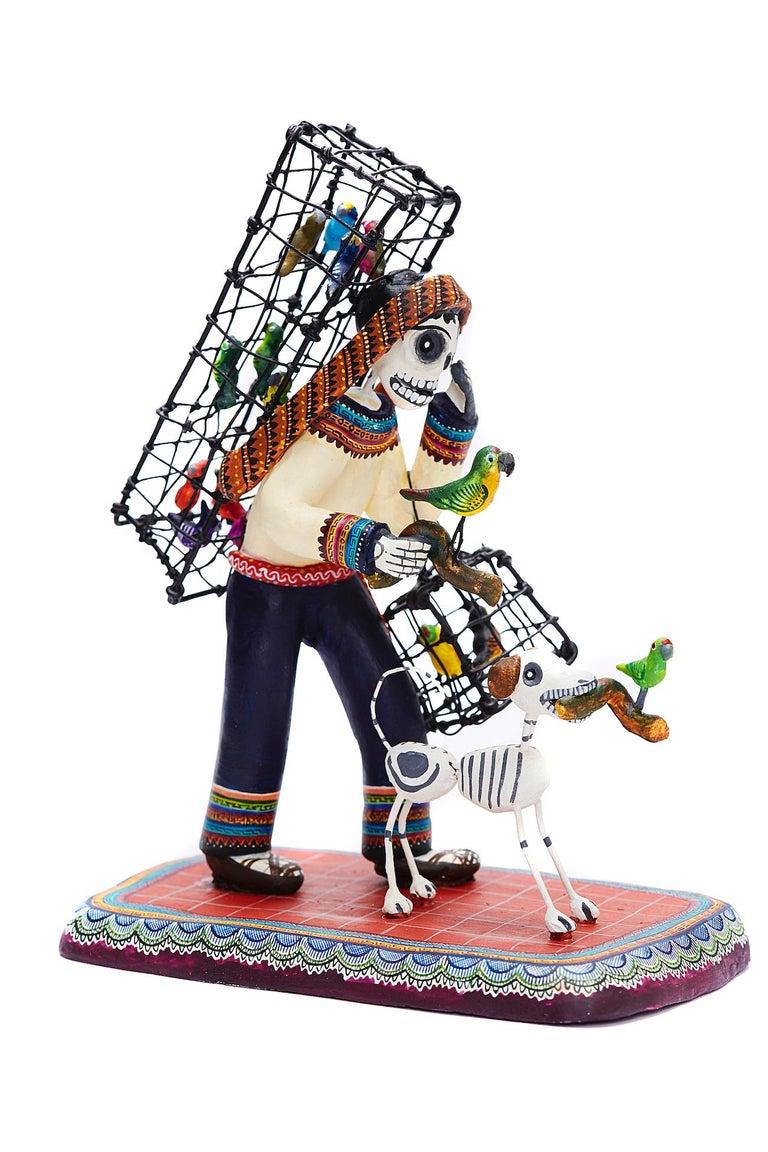 Vendedor de pájaros - Bird seller - Mexican Folk Art  Cactus Fine Art For Sale 8