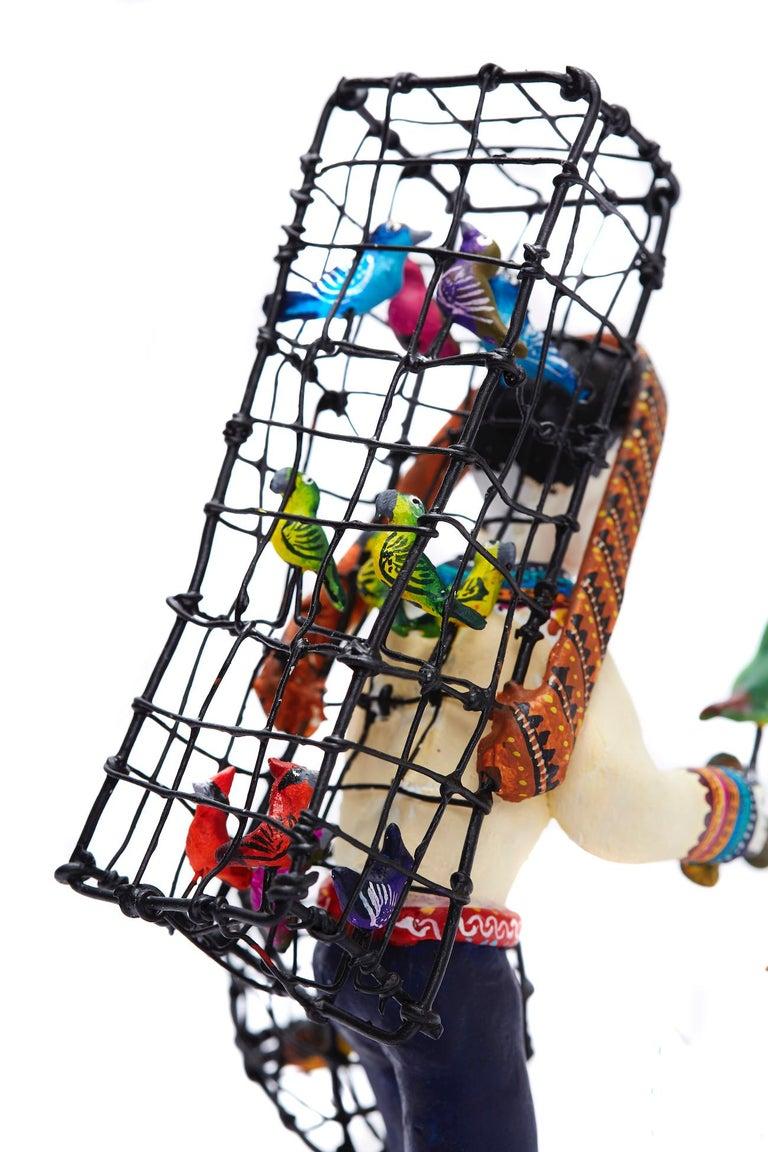Vendedor de pájaros - Bird seller - Mexican Folk Art  Cactus Fine Art For Sale 9