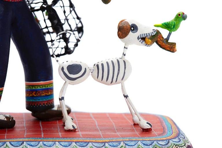 Vendedor de pájaros - Bird seller - Mexican Folk Art  Cactus Fine Art - Beige Abstract Sculpture by Taller Alfonso Castillo Orta