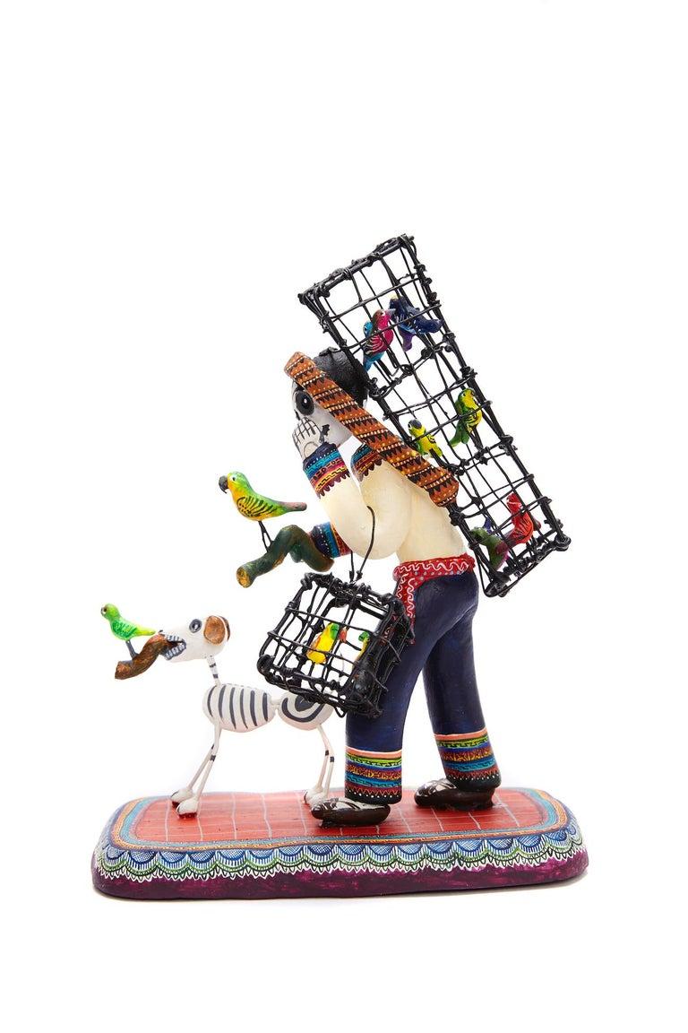 Vendedor de pájaros - Bird seller - Mexican Folk Art  Cactus Fine Art For Sale 12