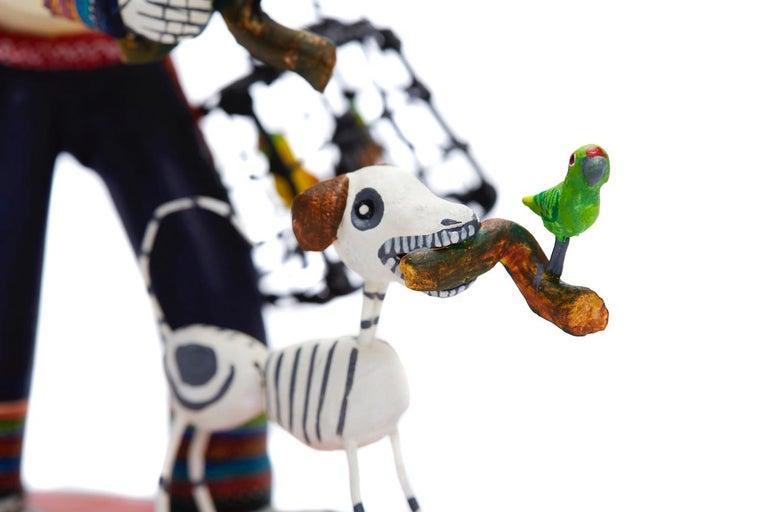 Vendedor de pájaros - Bird seller - Mexican Folk Art  Cactus Fine Art For Sale 13