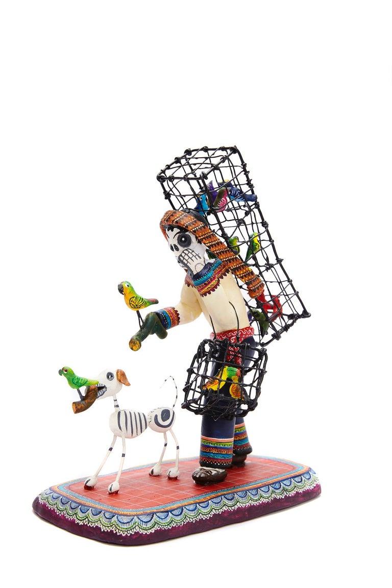 Vendedor de pájaros - Bird seller - Mexican Folk Art  Cactus Fine Art For Sale 15