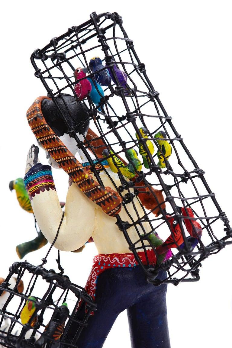 Vendedor de pájaros - Bird seller - Mexican Folk Art  Cactus Fine Art For Sale 16