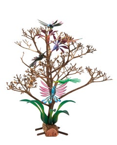 Hummingbirds Tree - Mexican Folk Art  Cactus Fine Art