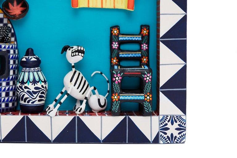 Cuadro Cocina Talavera - Talavera Kitchen - Mexican Folk Art  Cactus Fine Art - Sculpture by Taller Alfonso Castillo Orta