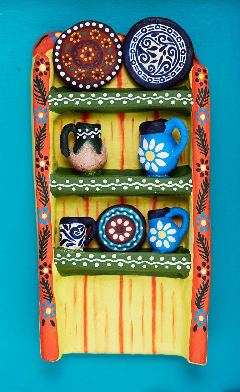 Cuadro Cocina Talavera - Talavera Kitchen - Mexican Folk Art  Cactus Fine Art - Blue Abstract Sculpture by Taller Alfonso Castillo Orta