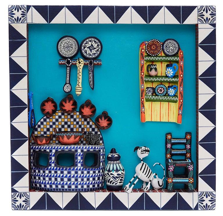 Taller Alfonso Castillo Orta Abstract Sculpture - Cuadro Cocina Talavera - Talavera Kitchen - Mexican Folk Art  Cactus Fine Art