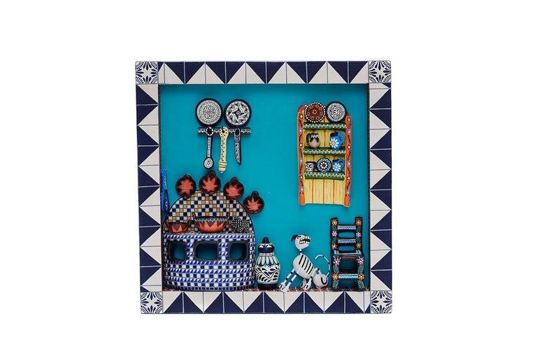 Cuadro Cocina Talavera - Talavera Kitchen - Mexican Folk Art  Cactus Fine Art For Sale 1