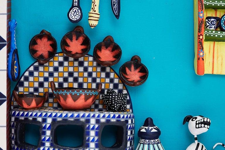 Cuadro Cocina Talavera - Talavera Kitchen - Mexican Folk Art  Cactus Fine Art For Sale 8
