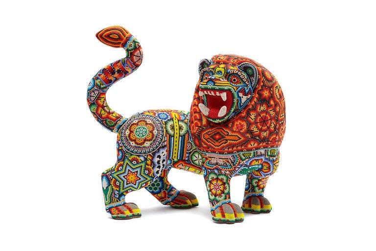 Sergio Bautista de la Cruz Figurative Sculpture - Leon - Lion - Hand Beaded - Mexican Huichol Art - Mexican Folk Art