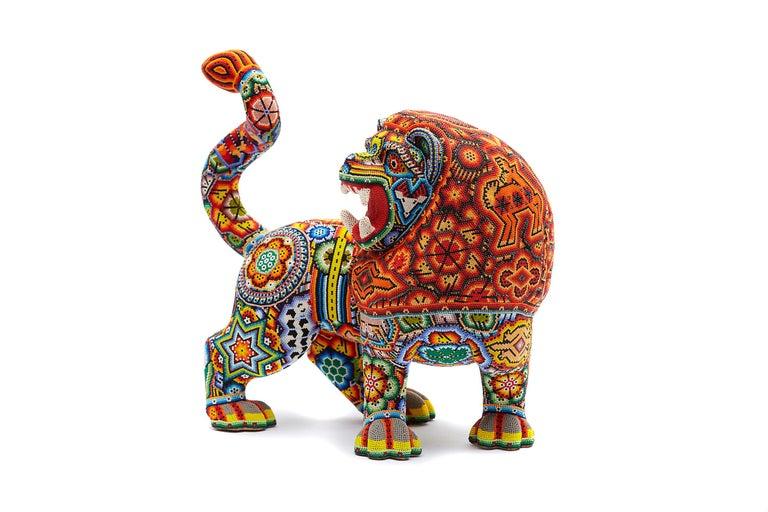 Leon - Lion - Hand Beaded - Mexican Huichol Art - Mexican Folk Art  - Sculpture by Sergio Bautista de la Cruz