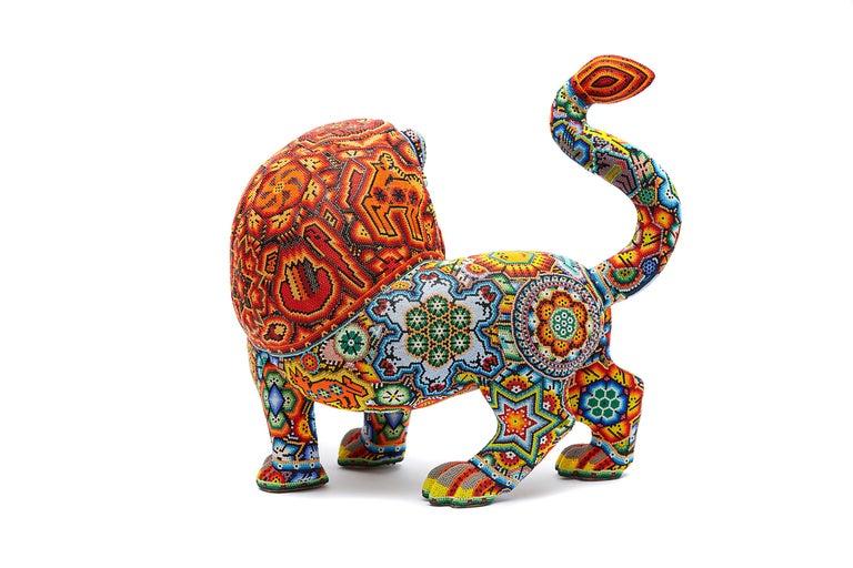 Leon - Lion - Hand Beaded - Mexican Huichol Art - Mexican Folk Art  For Sale 1