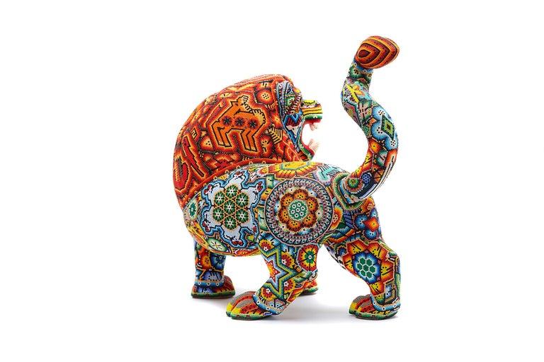 Leon - Lion - Hand Beaded - Mexican Huichol Art - Mexican Folk Art  For Sale 2