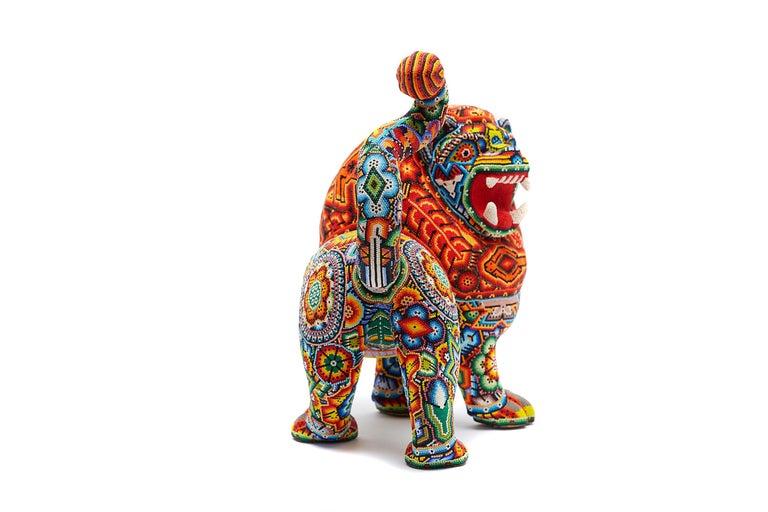 Leon - Lion - Hand Beaded - Mexican Huichol Art - Mexican Folk Art  For Sale 3