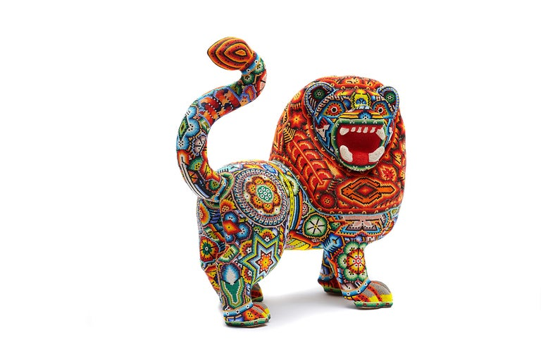 Leon - Lion - Hand Beaded - Mexican Huichol Art - Mexican Folk Art  For Sale 4
