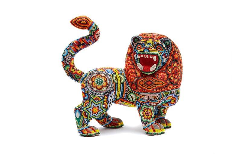 Leon - Lion - Hand Beaded - Mexican Huichol Art - Mexican Folk Art  For Sale 5