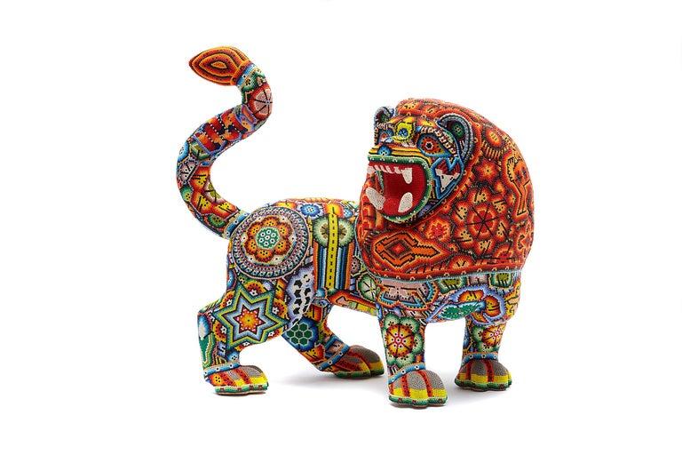 Leon - Lion - Hand Beaded - Mexican Huichol Art - Mexican Folk Art  For Sale 6