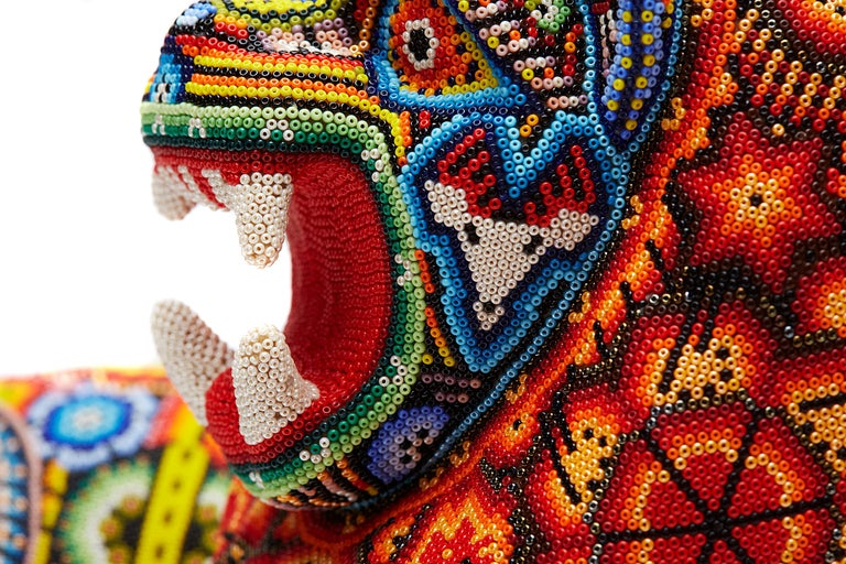 Leon - Lion - Hand Beaded - Mexican Huichol Art - Mexican Folk Art  For Sale 7