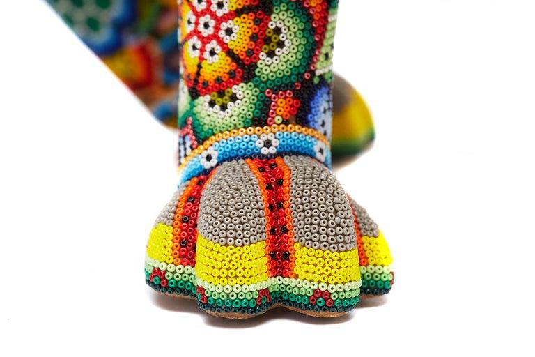 Leon - Lion - Hand Beaded - Mexican Huichol Art - Mexican Folk Art  For Sale 8